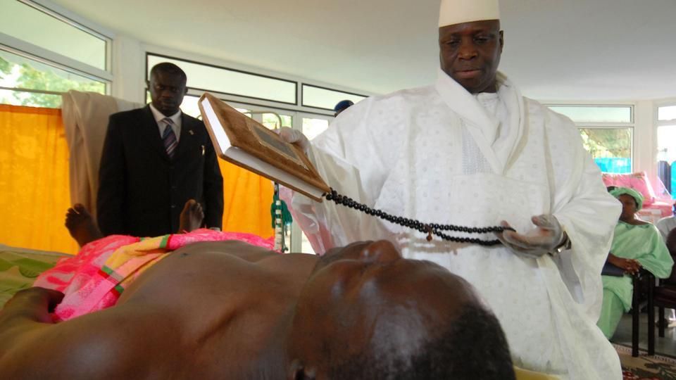 Hasil gambar untuk Yahya Jammeh with asthma and Aids patients