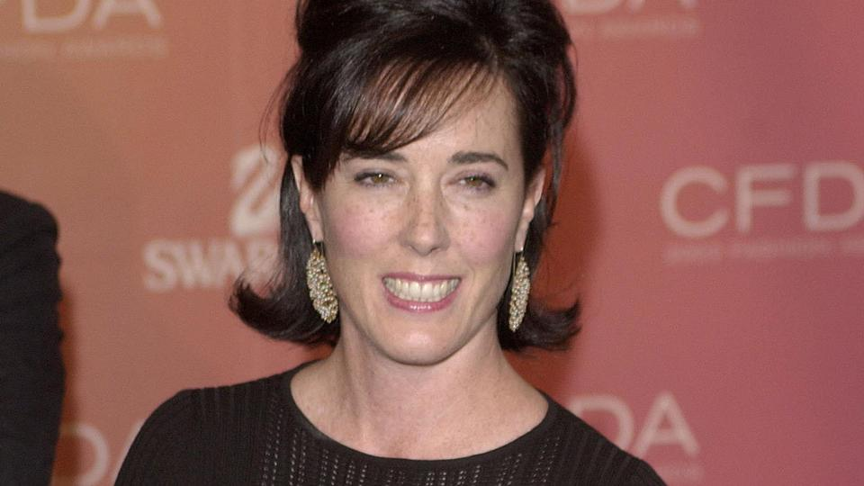 Kate Spade arrives at the Council of Fashion Designers of America awards in New York on June 2, 2003, at the New York Public Library.
