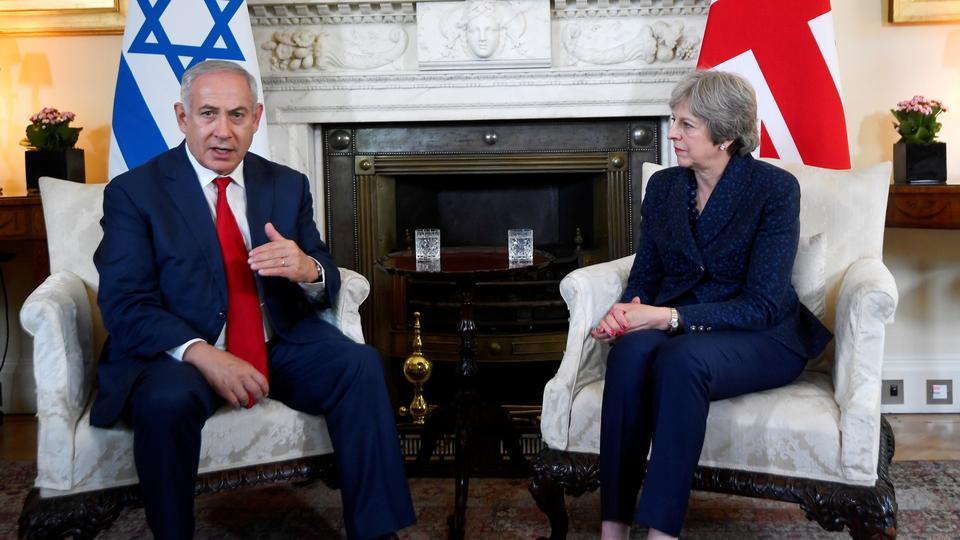 Israeli Prime Minister Benjamin Netanyahu meets British counterpart Theresa May at the Downing Street in London, on June 6, 2018.