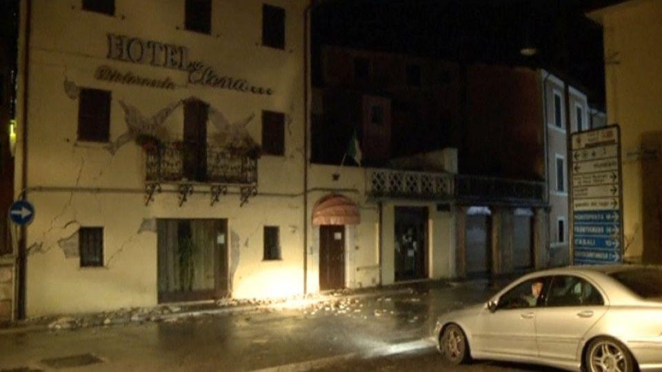 Still image from video shows cracks on the wall of a hotel after an earthquake in Visso, Italy October 26, 2016.