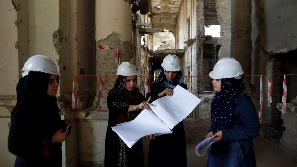 Afghan female engineers gather together to reconstruct the iconic Darul Aman Palace in Kabul, Afghanistan on October 2, 2016.