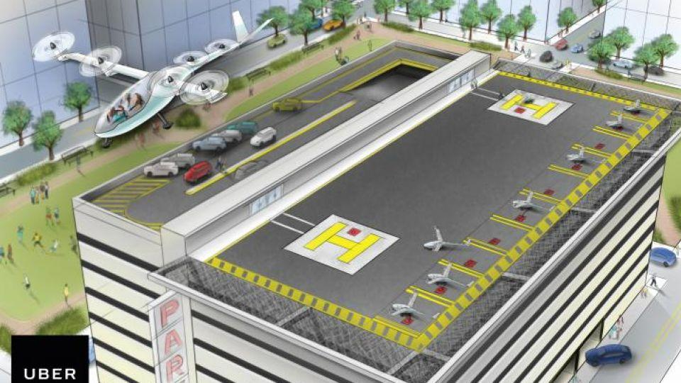 A vertical takeoff and landing aircraft (VTOL) leaves a heliport in an artist's rendition released by ride-sharing company Uber in San Francisco, California, US October 27 2016.