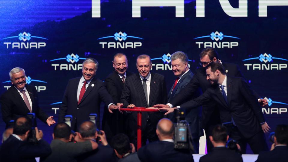 Turkish President Erdogan poses with his counterparts Aleksandar Vucic of Serbia, Ilham Aliyev of Azerbaijan, Petro Poroshenko of Ukraine and Turkish Cypriot leader Mustafa Akinci during the inauguration ceremony of Trans-Anatolian Natural Gas Pipeline (TANAP), in Eskisehir, Turkey on June 12, 2018.