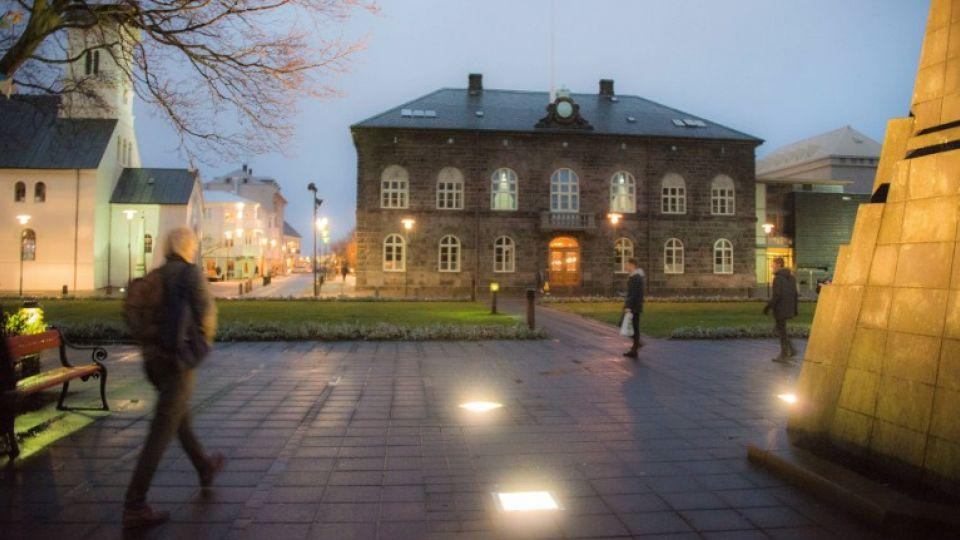 The Icelandic parliament building in Reykjavik.