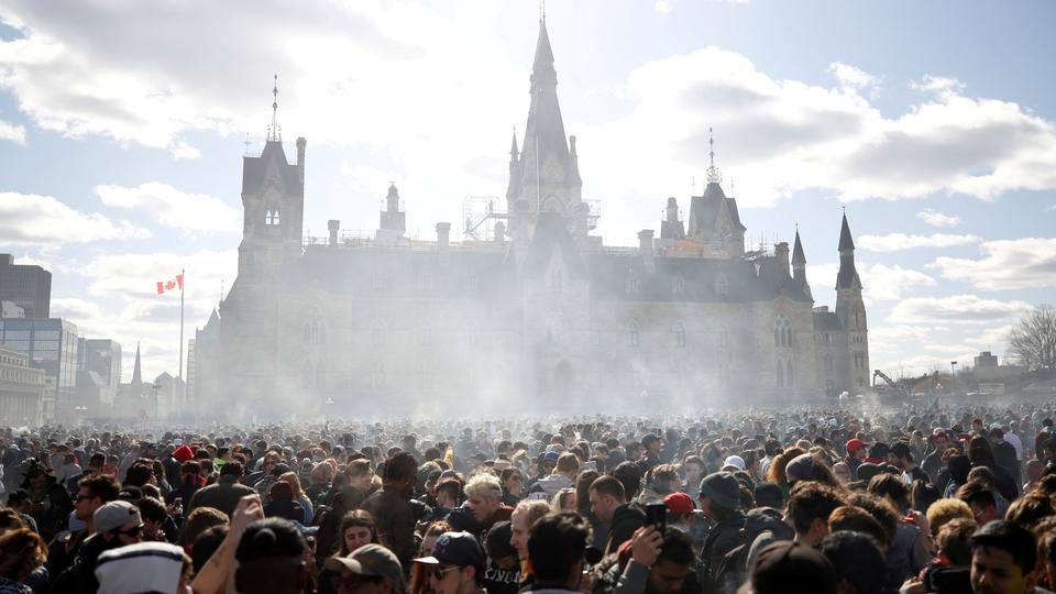 Smoke rises during the annual 4/20 marijuana rally on Parliament Hill in Ottawa, Ontario, Canada, April 20, 2018.