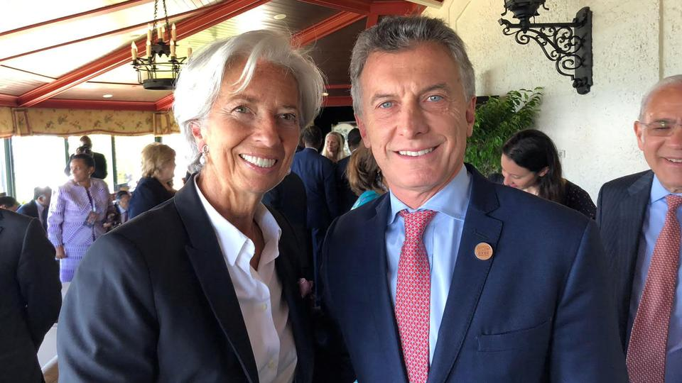 Christine Lagarde, Managing Director of the International Monetary Fund (IMF), and Argentina's President Mauricio Macri pose for a photo at the G7 Summit in the Charlevoix city of La Malbaie, Quebec, Canada, June 9, 2018.
