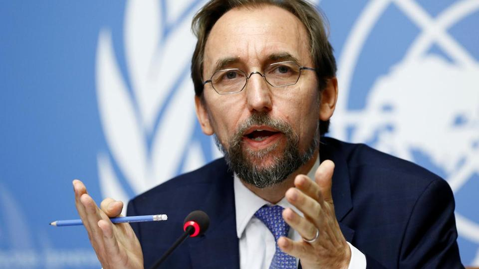 Zeid Ra'ad Al Hussein, UN High Commissioner for Human Rights gestures during a news conference at the United Nations Office in Geneva, Switzerland on August 30, 2017.