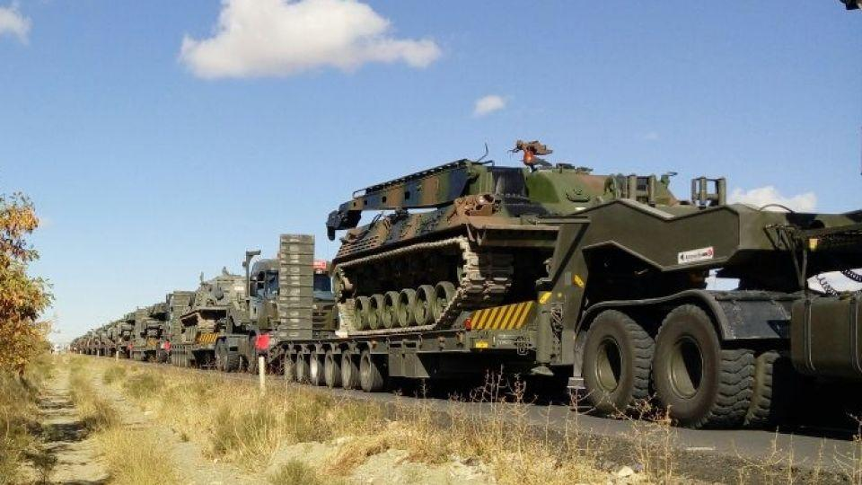 The 30-vehicle convoy included tanks, tank rescue vehicles and construction vehicles, according to Turkish military sources.
