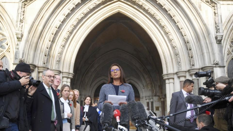 Financial entrepreneur Gina Miller, one of the claimants who challenged the UK government over its Brexit plans, speaks to the media outside the High Court in London.