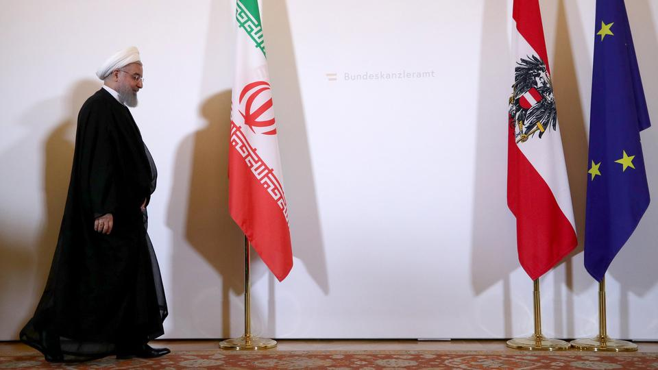 Iran's President Hassan Rouhani arrives at the Austrian Chancellery in Vienna, Austria. July 4, 2018.