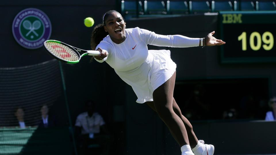 pretty nice 38a0a 0447b Serena Williams of the US plays a return to Arantxa Rus of the Netherlands  during the