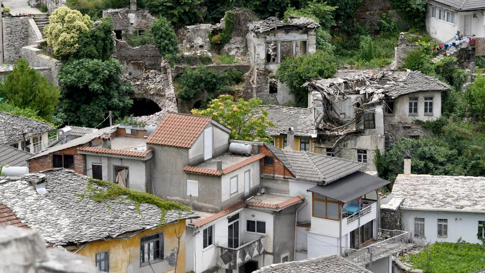 General view of the ruins of the Lolomani house, in the UNESCO protected city of Gjirokastra on June 15, 2018.