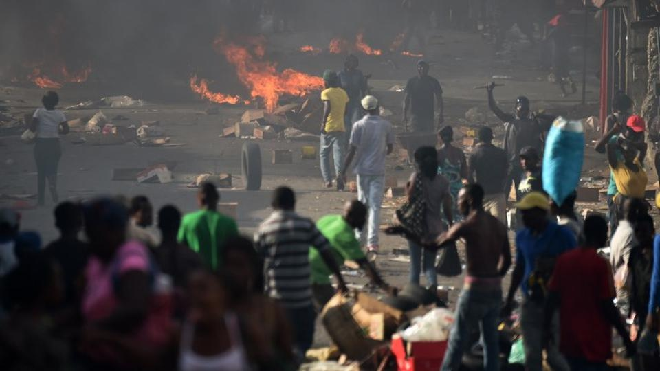Barricades placed by demonstrators are seen on the streets of Petion Ville, in the Haitian capital, Port-au-Prince, on July 6, 2018