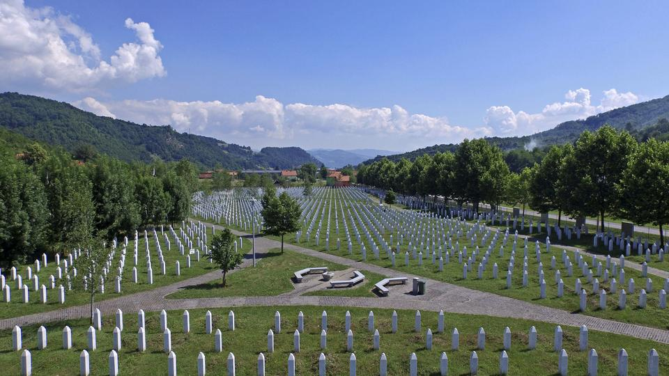 An aerial view of the Memorial Center in Potocari near Srebrenica, Bosnia and Herzegovina, June 20, 2015.