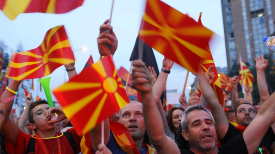 Thousands of Macedonians take part in a protest over a compromise solution in Macedonia's dispute with Greece over the country's name in Skopje, Macedonia, June 2, 2018.
