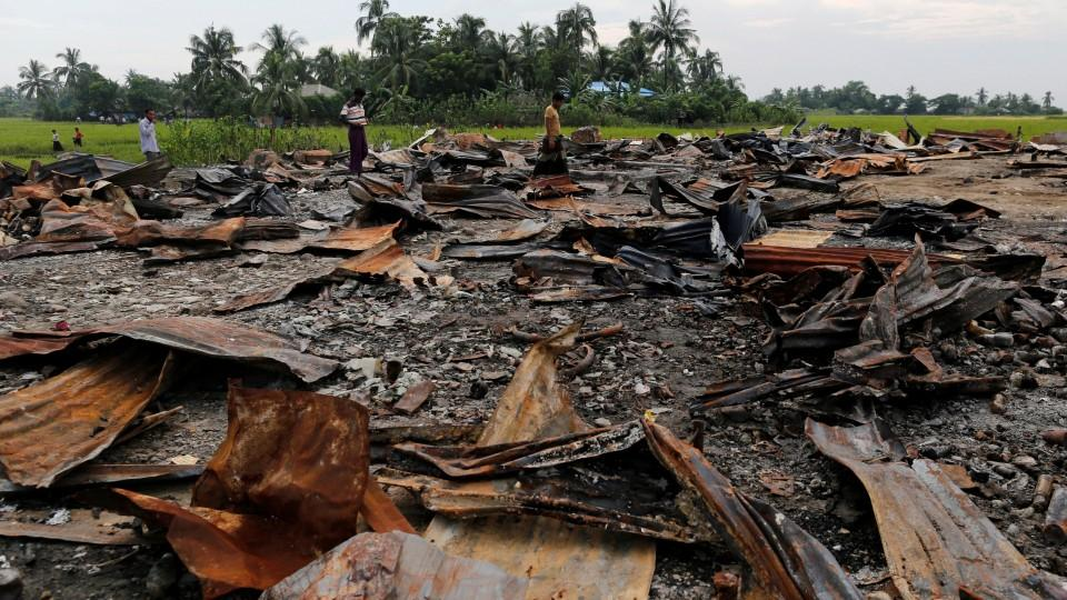 The ruins of a market which was set on fire are seen at a Rohingya village outside Maugndaw in Rakhine state, Myanmar October 27, 2016. Image: Reuters/archive