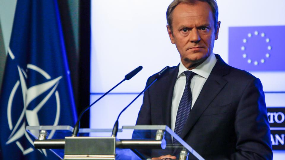 European Council President Donald Tusk holds a joint press conference after signing a joint declaration on the NATO-EU cooperation, in Brussels, on July 10, 2018, on the eve of the NATO summit.