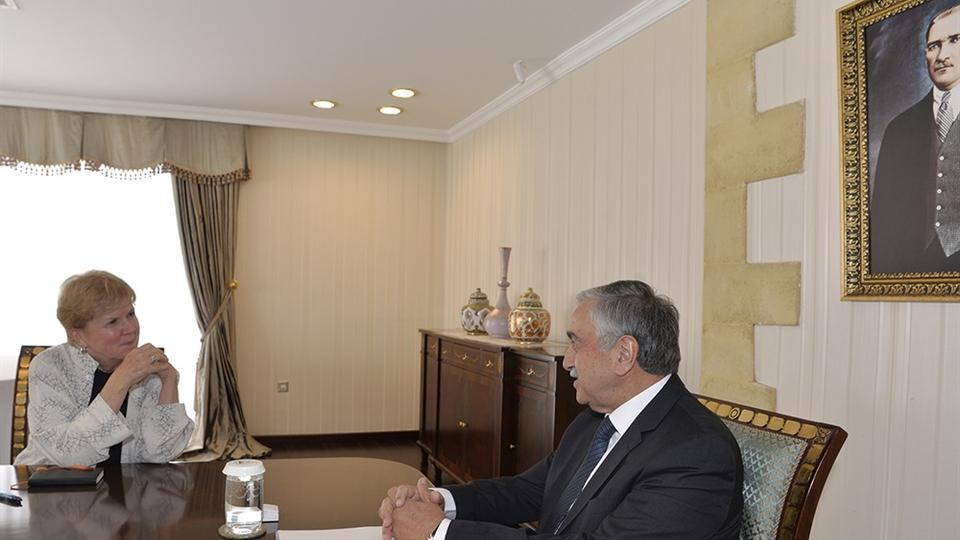 UN envoy Jane Holl Lute talks with Turkish Cypriot President Mustafa Akinci in the capital Lefkosa, Cyprus on July 23, 2018.