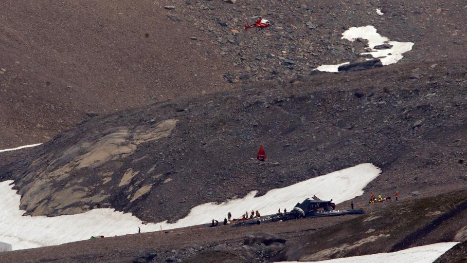 A general view of the accident site of a Junkers Ju-52 airplane of the local airline JU-AIR, in 2,450 metres (8,038 feet) above sea level near the mountain resort of Flims, Switzerland, August 5, 2018.