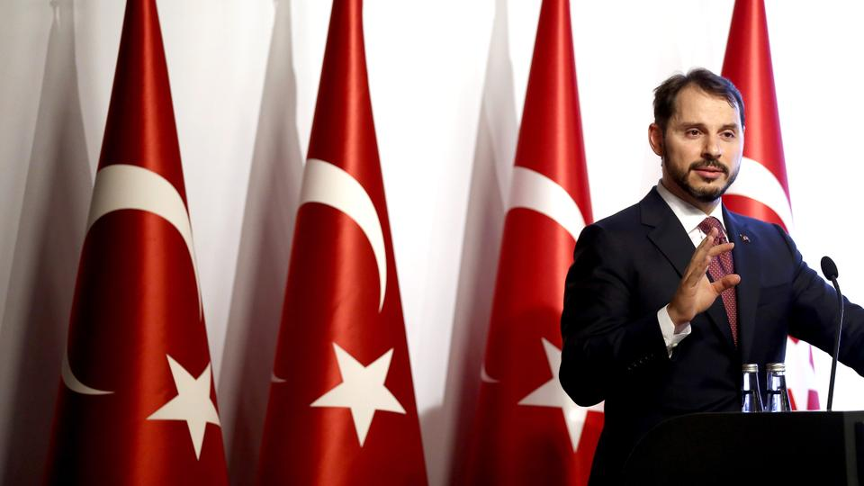 Tukey's Treasury and Finance Minister Berat Albayrak  speaks at an event introducing the