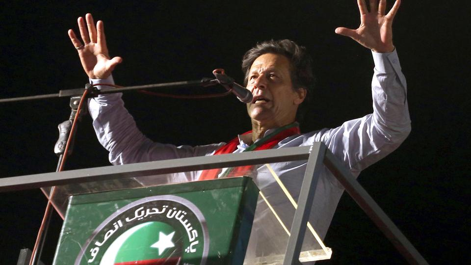 Pakistani politician Imran Khan, chief of Pakistan Tehreek-e-Insaf party, addresses an election rally in Karachi, Pakistan on July 22, 2018.