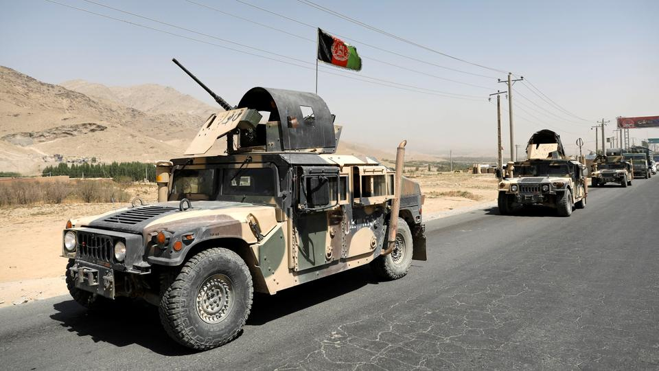 Afghan National Army (ANA) soldiers convy patrol on the Ghazni - Kabul highway, Afghanistan on August 14, 2018.