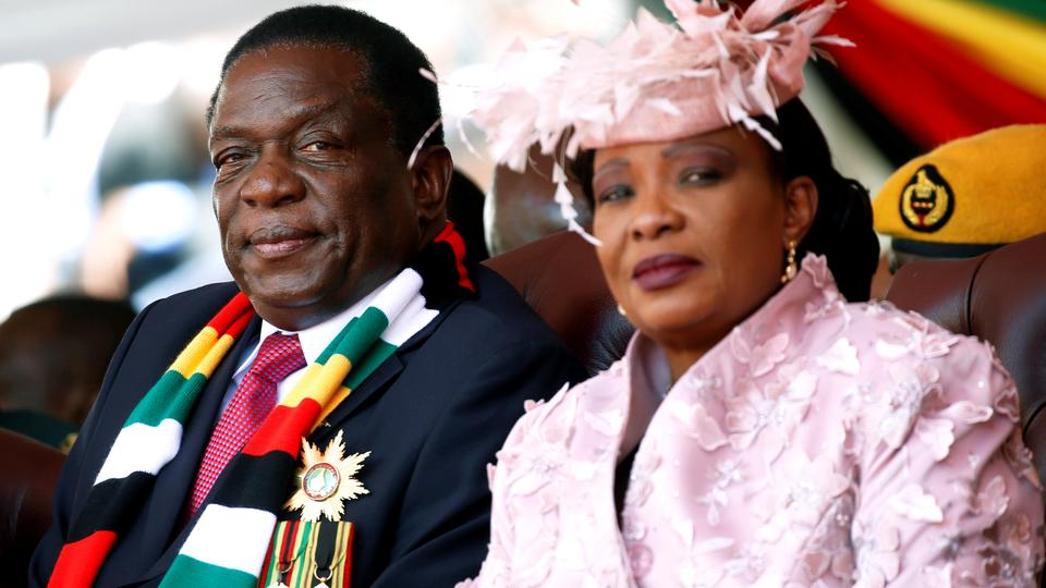 Zimbabwes President Emmerson Mnangagwa And His Wife Auxillia Look On During His Inauguration Ceremony In Harare