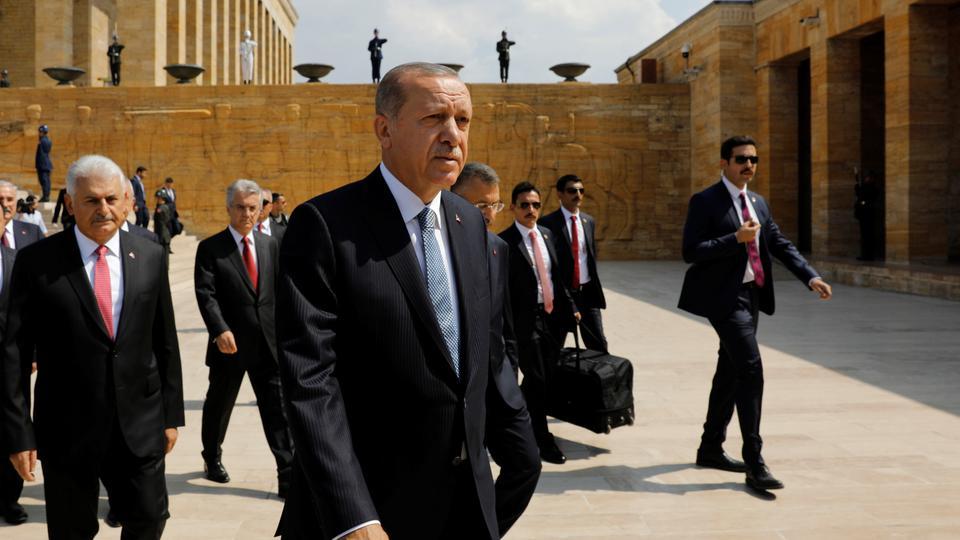 Turkish President Recep Tayyip Erdogan attends a ceremony marking the 96th anniversary of Victory Day at the mausoleum of Mustafa Kemal Ataturk in Ankara, Turkey on August 30, 2018.