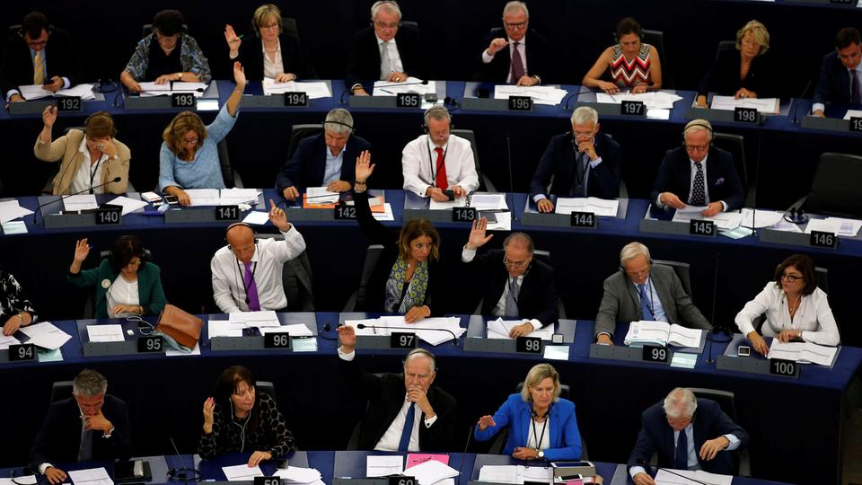 Members of the European Parliament take part in a vote on the situation in Hungary during a voting session at the European Parliament in Strasbourg, France, September 12, 2018.