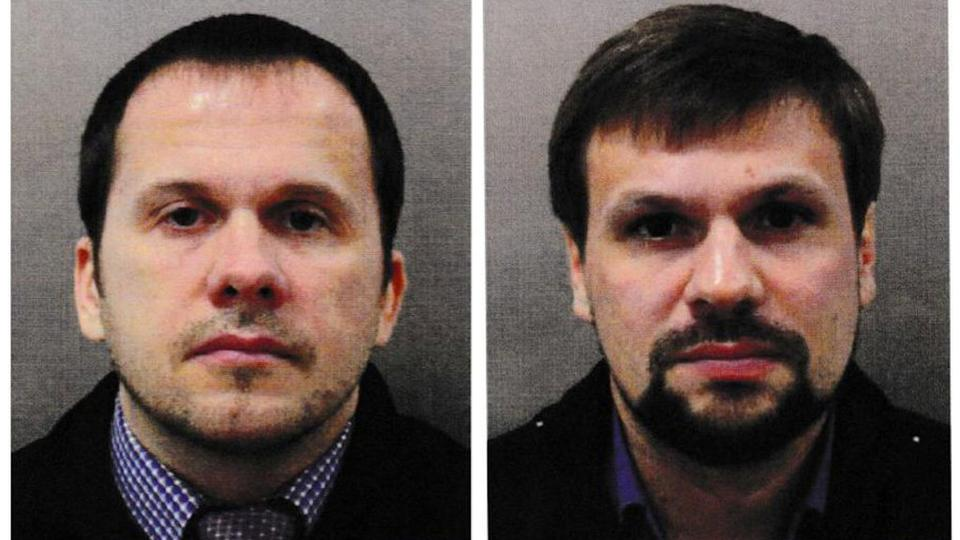 Alexander Petrov and Ruslan Boshirov, who were formally accused of attempting to murder former Russian intelligence officer Sergei Skripal and his daughter Yulia in Salisbury, are seen in this image handed out by the Metropolitan Police in London.