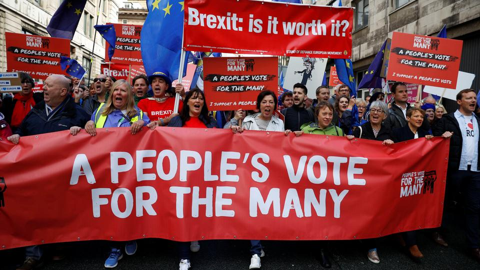 Anti-Brexit supporters demonstrate in the centre of the city, as it hosts the annual Labour Party Conference, in Liverpool, Britain, September 23, 2018.