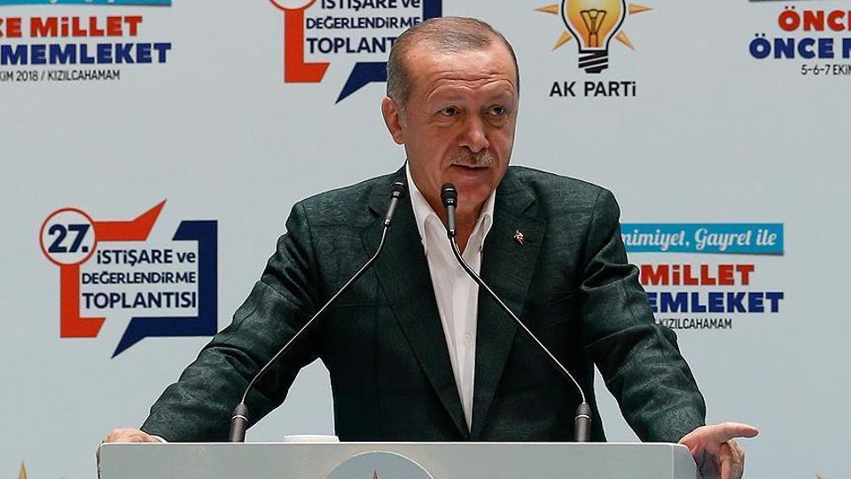 Turkish President Recep Tayyip Erdogan speaking at an AK Party event in Ankara, October 6, 2018.