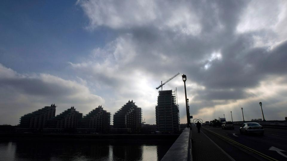A new apartment development under progress beside the River Thames in London, Thursday, January 29, 2009.