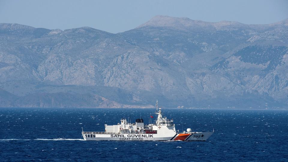 A Turkish coast guard ship patrols in the Aegean Sea off the Turkish coast, April 20, 2016, part of a NATO naval presence meant to monitor illegal naval movement between Turkey and Greece.