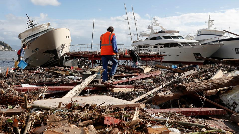 Deadly storms with heavy rainfall have hit Italy and other parts of Europe, stranding hundreds of people and washing ashore yachts.