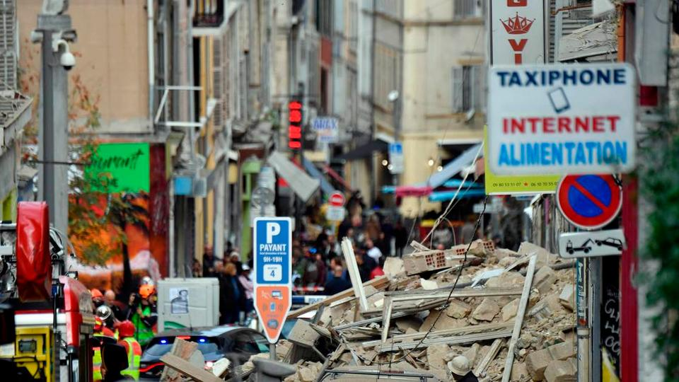 A building in the southern city of Marseille has been reduced to rubble on November 5, 2018.