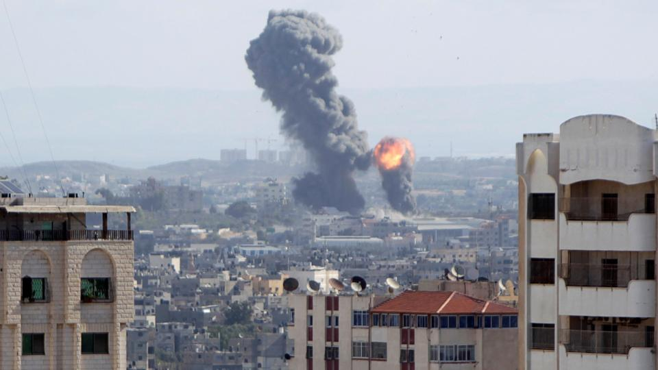 An explosion is seen during Israeli air strikes in Gaza October 27, 2018.