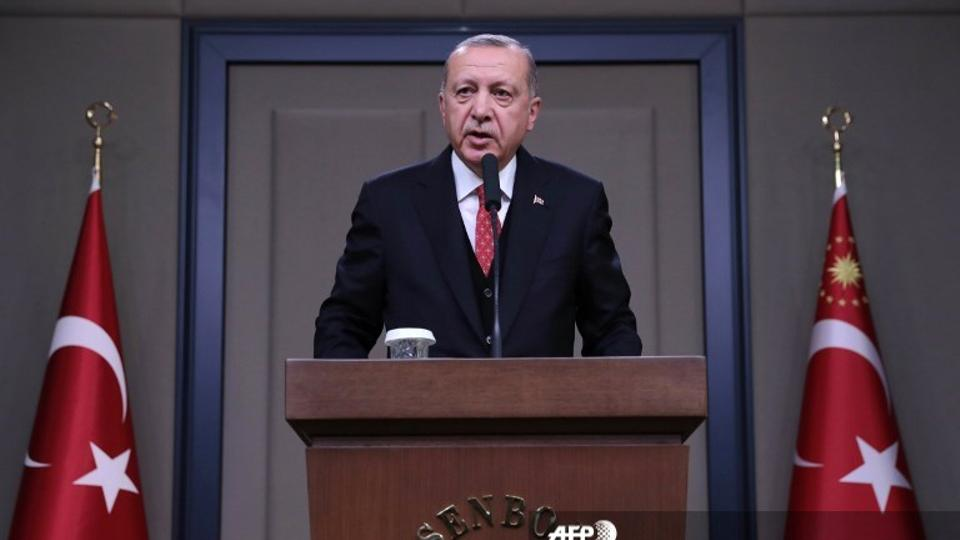 Turkey's President Recep Tayyip Erdogan holds a press conference in Ankara, on November 10, 2018.