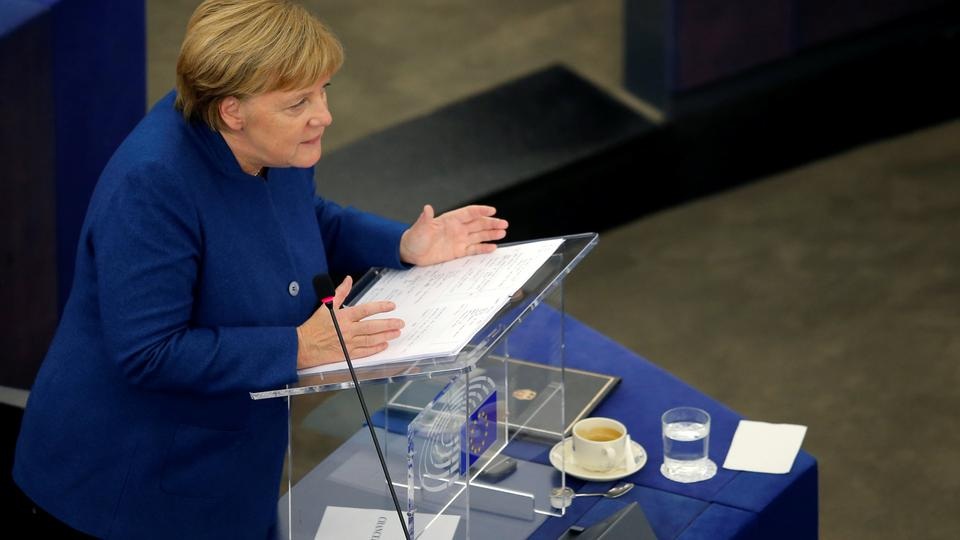 German Chancellor Angela Merkel addresses the European Parliament during a debate on the future of Europe, at the European Parliament in Strasbourg, France, November 13, 2018.