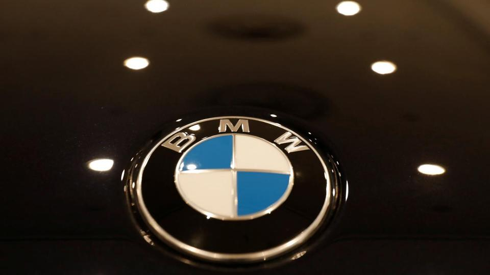 The BMW logo is seen on a vehicle at the New York Auto Show in the Manhattan borough of New York City, New York, US, March 29, 2018.