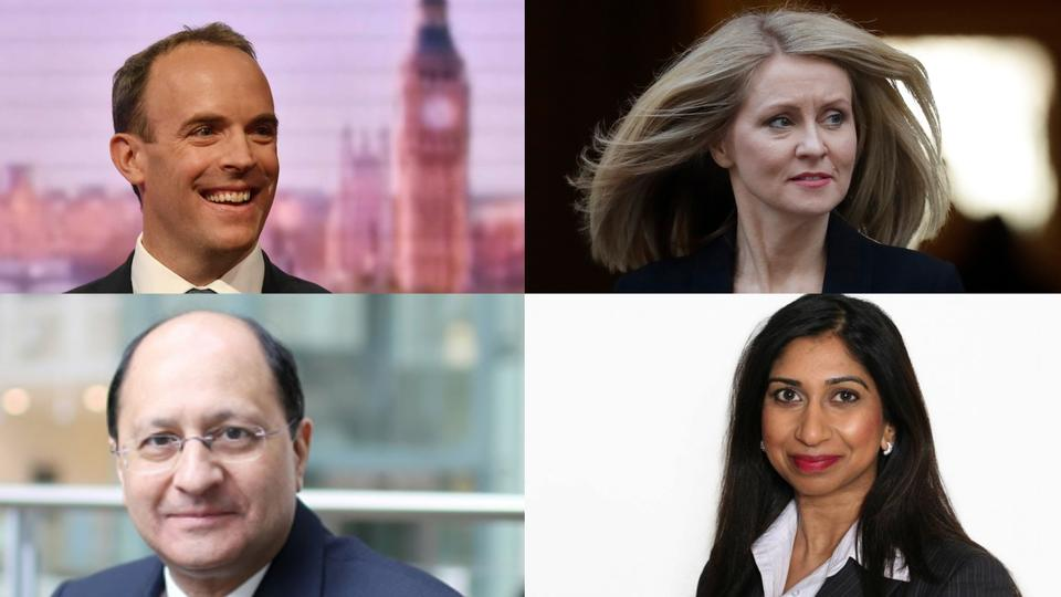 Top right Brexit Minister Dominic Raab, left box Work and Pensions Secretary Esther McVey, bottom right the Northern Ireland minister Shailesh Vara, and bottom left junior Brexit minister  Suella Braverman.