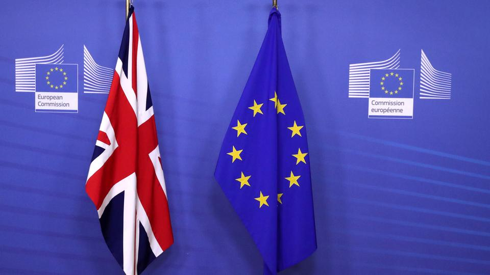 British and EU flags are seen before Britain's Prime Minister Theresa May meets with Commission President Jean-Claude Juncker to discuss draft agreements on Brexit, at the EC headquarters in Brussels, Belgium on November 21, 2018.