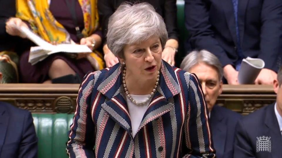 Britain's Prime Minister Theresa May makes a statement on Brexit to the House of Commons in London, Monday, November 26, 2018.