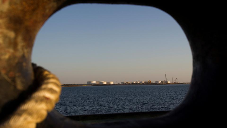 A general view of an oil dock is seen from a ship at the port of Kalantari in the city of Chabahar, 300km (186 miles) east of the Strait of Hormuz January 17, 2012.