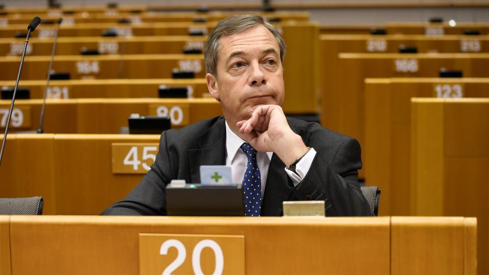 Brexit campaigner and member of the European Parliament Nigel Farage attends a plenary session on Article 50 Negotiations with Chief EU negotiator for Brexit at the European Parliament in Brussels on November 29, 2018.