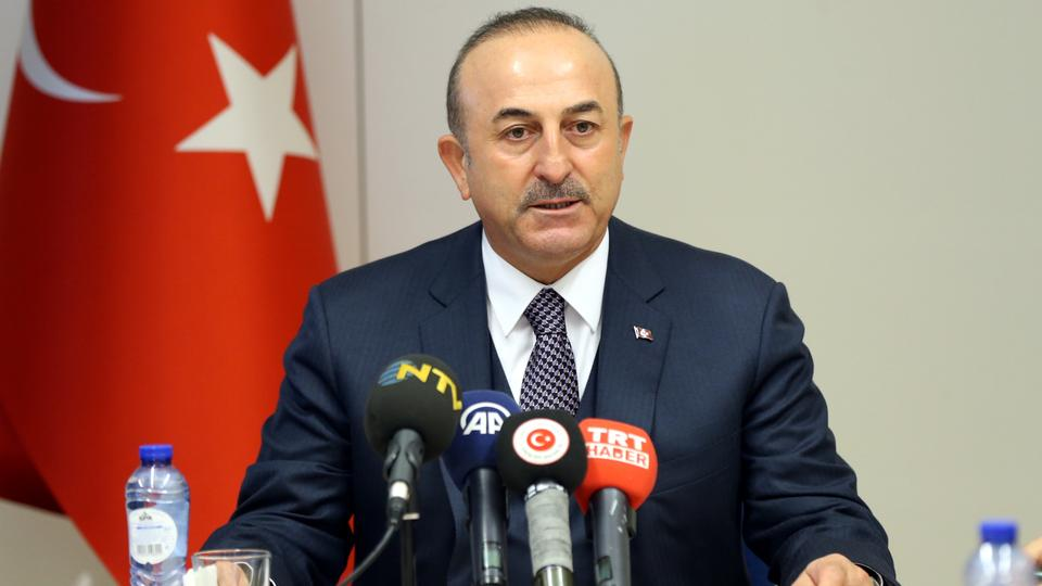 Turkish Foreign Minister Mevlut Cavusoglu speaks during a press conference after he attended the NATO Foreign Ministers' meeting in Brussels, Belgium on December 05, 2018.