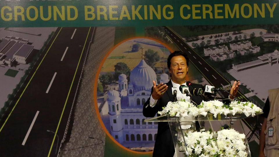 Pakistan's Prime Minister Imran Khan gestures as he speaks during the groundbreaking ceremony of the Kartarpur border corridor, which will officially open next year, in Pakistan.