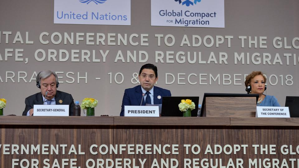 Moroccan foreign minister Nasser Bourita speaks during the Intergovernmental Conference to Adopt the Global Compact for Safe, Orderly and Regular Migration, in Marrakesh, Morocco, December 10, 2018.