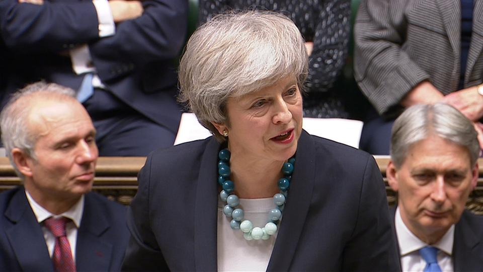 Britain's Prime Minister Theresa May making a statement in the House of Commons in London on December 10, 2018.