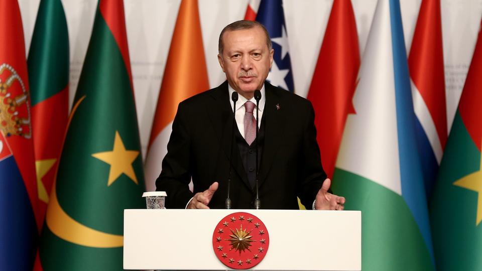 President of Turkey Recep Tayyip Erdogan speaks at The First Judicial Conference of the Constitutional/Supreme Courts of The Organization of Islamic Cooperation Member/Observer States (J-OIC) on